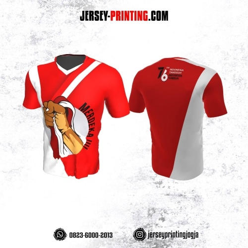 Jersey HUT RI 76 Kemerdekaan Indonesia 17 Agustus Merah Putih Motif Tangan Menggenggam Bendera