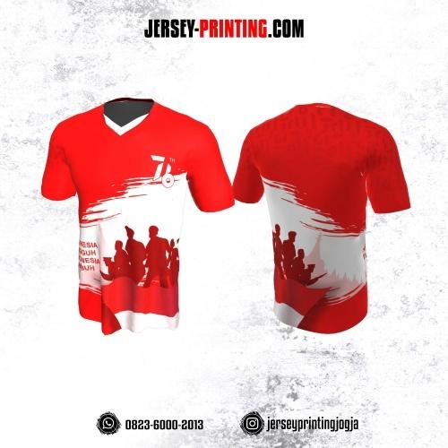 Jersey HUT RI 76 Kemerdekaan Indonesia 17 Agustus Motif Brush Merah Putih