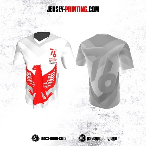 Jersey HUT RI 76 Kemerdekaan Indonesia 17 Agustus Putih Abu-abu Motif Burung Garuda Merah