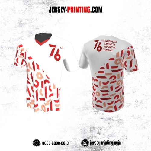 Jersey HUT RI 76 Kemerdekaan Indonesia 17 Agustus Putih Merah Motif Abstrak