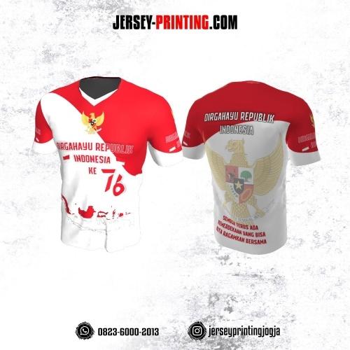 Jersey HUT RI 76 Kemerdekaan Indonesia 17 Agustus Putih Merah Motif Peta dan Garuda Pancasila