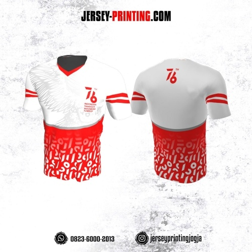 Jersey HUT RI 76 Kemerdekaan Indonesia 17 Agustus Putih Merah Motif Sayap dan Abstrak