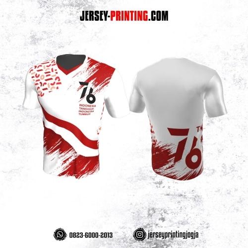 Jersey HUT RI 76 Kemerdekaan Indonesia 17 Agustus Putih Motif Brush Merah