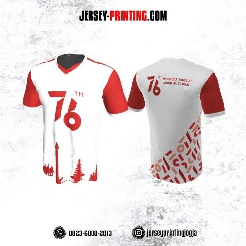 Jersey HUT RI 76 Kemerdekaan Indonesia 17 Agustus Putih Motif Rumah Adat Merah