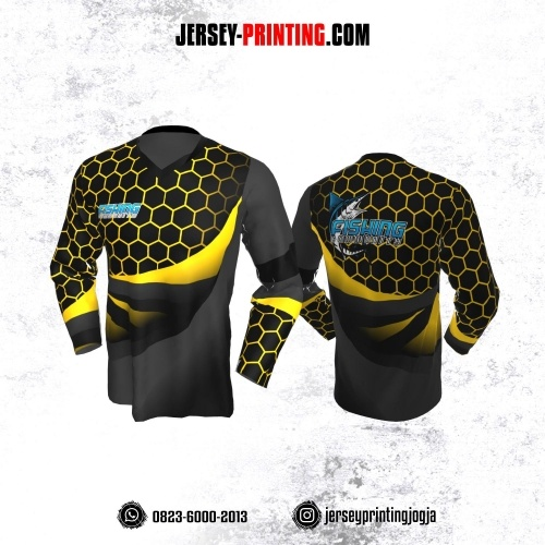 Jersey Mancing Fishing Angler Hitam Abu-abu Motif Hexagon Kuning Lengan Panjang