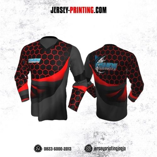 Jersey Mancing Fishing Angler Hitam Abu-abu Motif Hexagon Merah Lengan Panjang