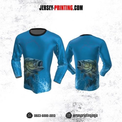 Jersey Mancing Fishing Angler Lengan Panjang Biru Motif Hexagon