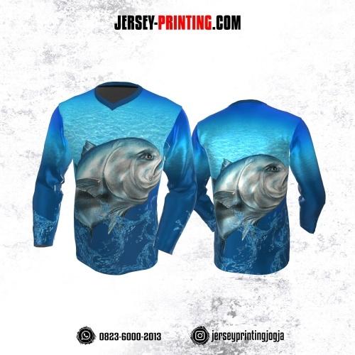 Jersey Mancing Fishing Angler Lengan Panjang Biru Motif Air