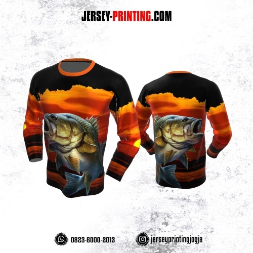 Jersey Mancing Fishing Angler Lengan Panjang Orange Hitam Motif Senja