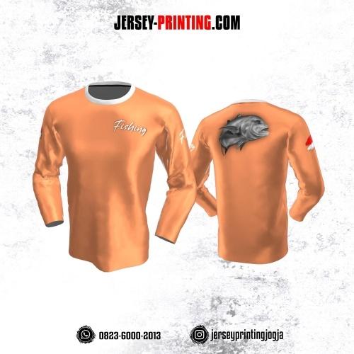 Jersey Mancing Fishing Angler Lengan Panjang Orange Putih