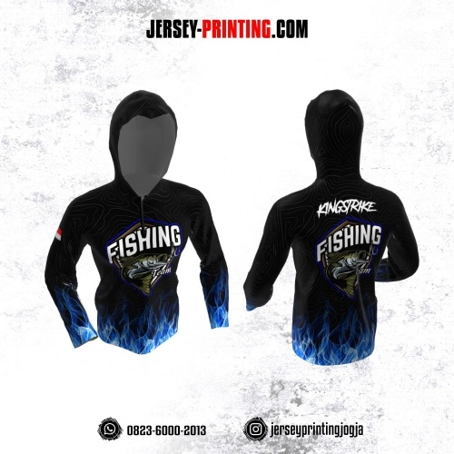 Jersey Mancing Fishing Angler Resleting Hoodie Lengan Panjang Hitam Abu-abu Motif Api Navy