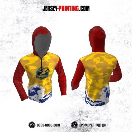Jersey Mancing Fishing Angler Resleting Hoodie Lengan Panjang Kuning Merah Putih Navy Motif Abstrak