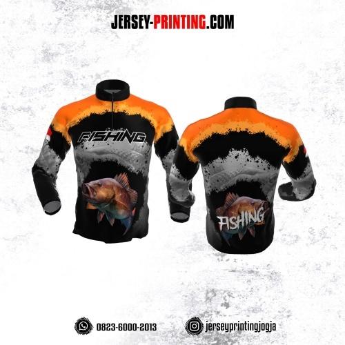 Jersey Mancing Fishing Angler Resleting Lengan Panjang Hitam Abu-abu Orange Motif Brush