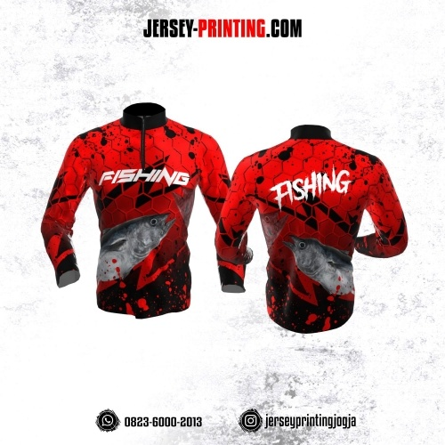 Jersey Mancing Fishing Angler Resleting Lengan Panjang Merah Hitam Motif Hexagon
