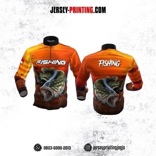 Jersey Mancing Fishing Angler Resleting Lengan Panjang Motif Senja Orange Kuning Hitam