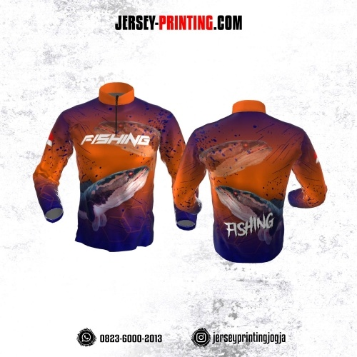 Jersey Mancing Fishing Angler Resleting Lengan Panjang Orange Navy Motif Bercak