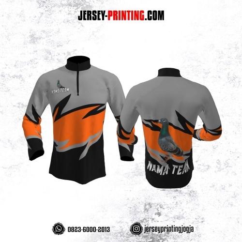 Jersey Merpati Kolong Lengan Panjang Abu-abu Orange Hitam Motif Kilat