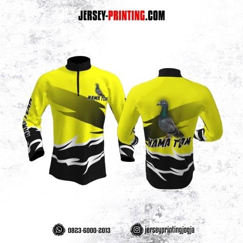Jersey Merpati Kolong Lengan Panjang Kuning Hitam Motif Kilat Putih