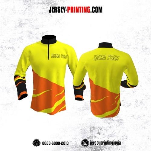 Jersey Merpati Kolong Lengan Panjang Kuning Motif Loreng Orange Hitam