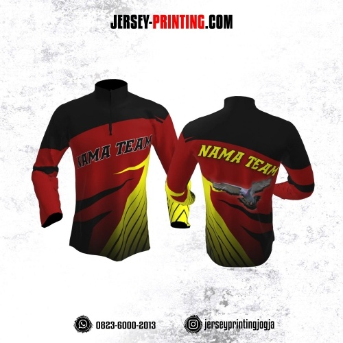 Jersey Merpati Kolong Lengan Panjang Merah Corak Hitam Kuning