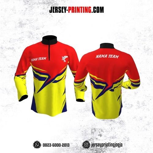 Jersey Merpati Kolong Lengan Panjang Merah Kuning Motif Kilat Biru Navy