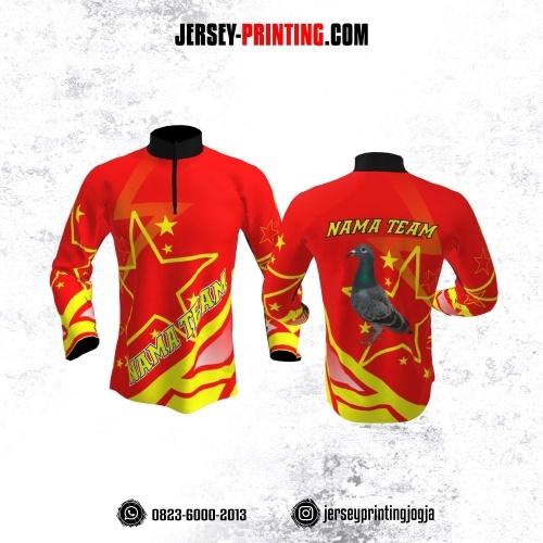 Jersey Merpati Kolong Lengan Panjang Merah Motif Bintang Kuning