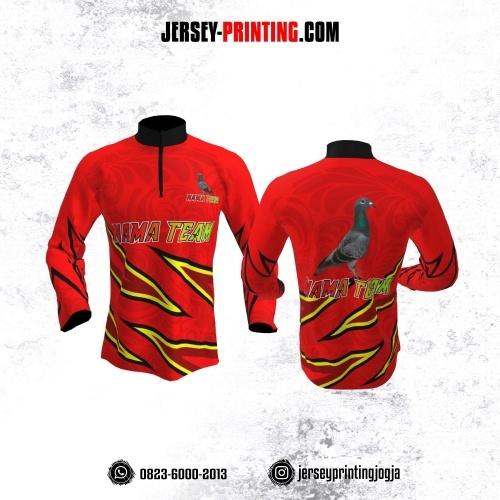 Jersey Merpati Kolong Lengan Panjang Merah Motif Kilat Hitam Kuning