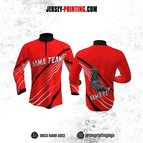 Jersey Merpati Kolong Lengan Panjang Merah Motif Line Hitam Putih