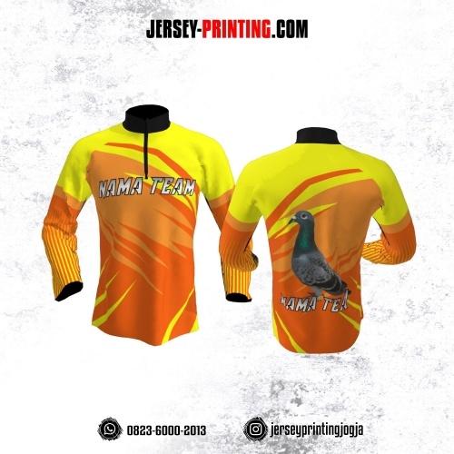 Jersey Merpati Kolong Lengan Panjang Orange Corak Kuning Motif Strip