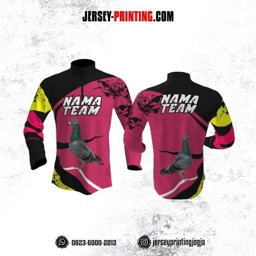 Jersey Merpati Kolong Lengan Panjang Pink Hitam Kuning Motif Splash Tinta