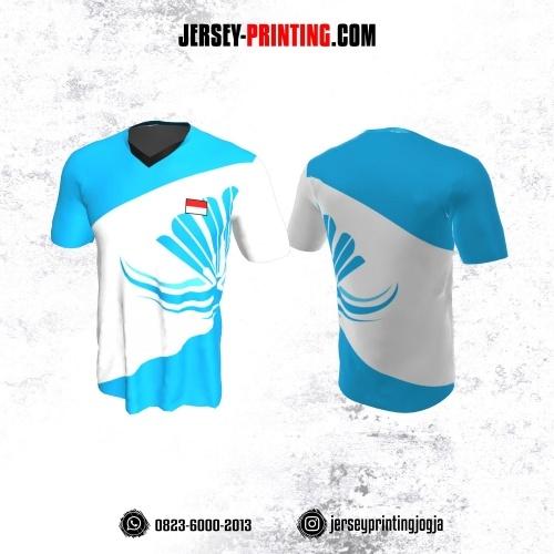 Jersy Badminton Putih Corak Biru